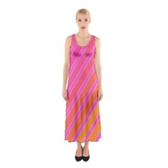 Pink Elegant Lines Sleeveless Maxi Dress by Valentinaart