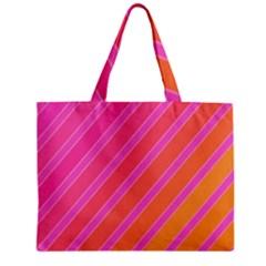 Pink Elegant Lines Zipper Mini Tote Bag by Valentinaart