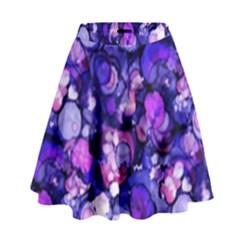 Blue Ink Rain on Glass High Waist Skirt by KirstenStar