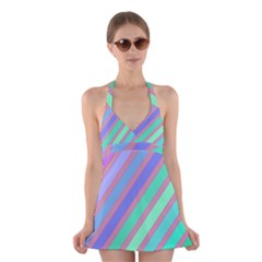 Pastel Colorful Lines Halter Swimsuit Dress