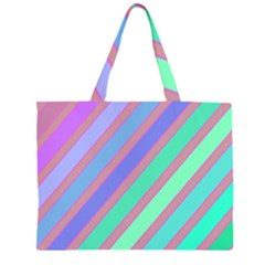 Pastel Colorful Lines Zipper Large Tote Bag by Valentinaart