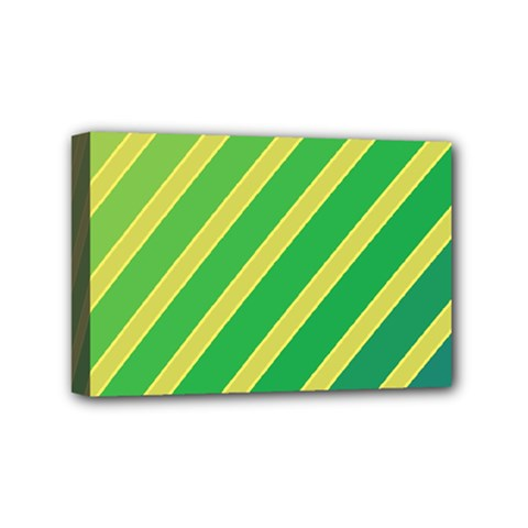 Green And Yellow Lines Mini Canvas 6  X 4  by Valentinaart