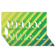 Green And Yellow Lines Merry Xmas 3d Greeting Card (8x4)  by Valentinaart