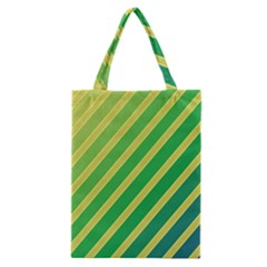 Green And Yellow Lines Classic Tote Bag by Valentinaart