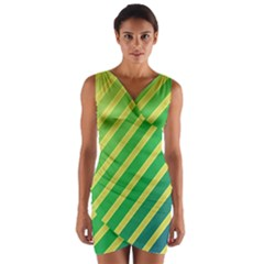 Green And Yellow Lines Wrap Front Bodycon Dress