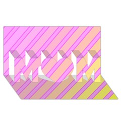 Pink And Yellow Elegant Design Mom 3d Greeting Card (8x4)  by Valentinaart