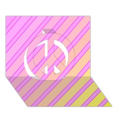 Pink And Yellow Elegant Design Peace Sign 3d Greeting Card (7x5)  by Valentinaart