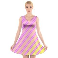Pink and yellow elegant design V-Neck Sleeveless Skater Dress