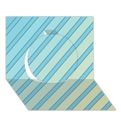 Blue Elegant Lines Circle 3d Greeting Card (7x5)  by Valentinaart