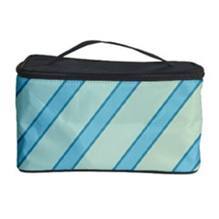 Blue elegant lines Cosmetic Storage Case by Valentinaart