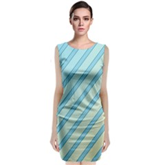 Blue Elegant Lines Classic Sleeveless Midi Dress by Valentinaart