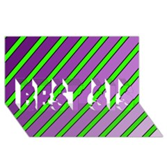 Purple And Green Lines Best Sis 3d Greeting Card (8x4)  by Valentinaart