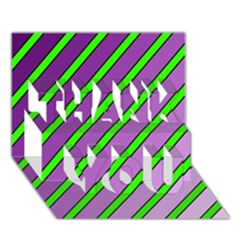 Purple And Green Lines Thank You 3d Greeting Card (7x5)  by Valentinaart