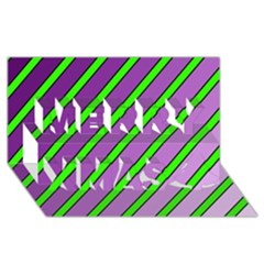 Purple And Green Lines Merry Xmas 3d Greeting Card (8x4)  by Valentinaart