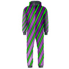 Purple and green lines Hooded Jumpsuit (Men)  by Valentinaart