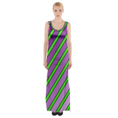 Purple And Green Lines Maxi Thigh Split Dress by Valentinaart