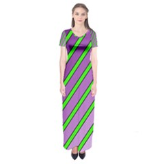 Purple And Green Lines Short Sleeve Maxi Dress by Valentinaart
