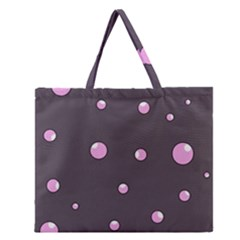 Pink Bubbles Zipper Large Tote Bag by Valentinaart