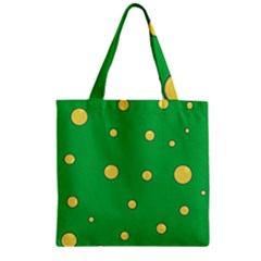 Yellow Bubbles Zipper Grocery Tote Bag