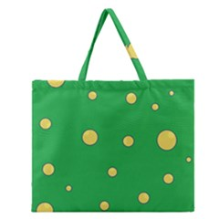 Yellow Bubbles Zipper Large Tote Bag by Valentinaart