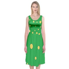 Yellow Bubbles Midi Sleeveless Dress
