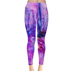 Purple Alcohol Ink Abstract Leggings  by KirstenStar
