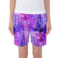 Purple Alcohol Ink Abstract Women s Basketball Shorts by KirstenStar