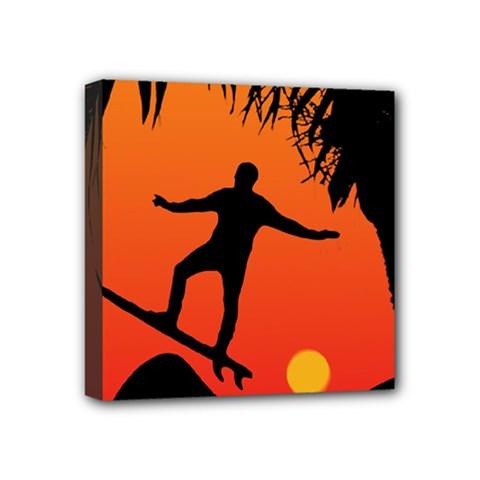 Man Surfing At Sunset Graphic Illustration Mini Canvas 4  X 4  by dflcprints