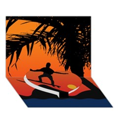 Man Surfing At Sunset Graphic Illustration Heart Bottom 3d Greeting Card (7x5)  by dflcprints
