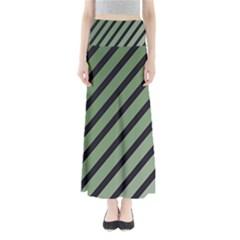 Green Elegant Lines Maxi Skirts