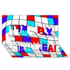 Colorful Cubes  Happy New Year 3d Greeting Card (8x4)  by Valentinaart