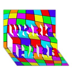 Colorful Cubes Work Hard 3d Greeting Card (7x5)  by Valentinaart