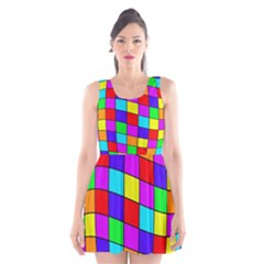 Colorful cubes Scoop Neck Skater Dress by Valentinaart
