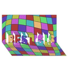 Colorful cubes  BEST SIS 3D Greeting Card (8x4)  by Valentinaart