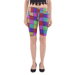 Colorful cubes  Yoga Cropped Leggings by Valentinaart