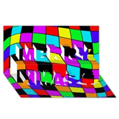 Colorful Cubes  Merry Xmas 3d Greeting Card (8x4)  by Valentinaart
