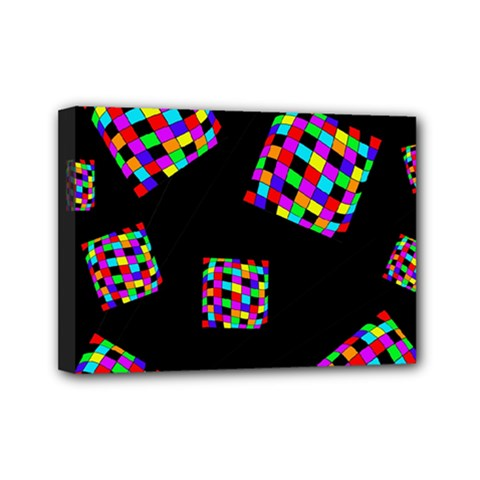 Flying  Colorful Cubes Mini Canvas 7  X 5  by Valentinaart