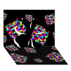 Flying  Colorful Cubes Clover 3d Greeting Card (7x5)  by Valentinaart