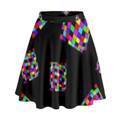 Flying  Colorful Cubes High Waist Skirt