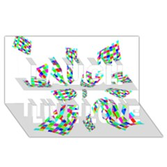 Colorful Abstraction Laugh Live Love 3d Greeting Card (8x4)  by Valentinaart