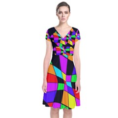 Abstract colorful flower Short Sleeve Front Wrap Dress by Valentinaart
