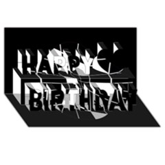 Black And White Abstract Flower Happy Birthday 3d Greeting Card (8x4)  by Valentinaart