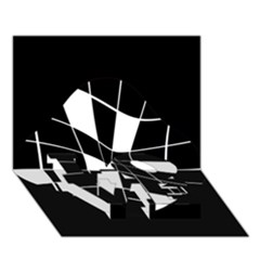 Black And White Abstract Flower Love Bottom 3d Greeting Card (7x5)