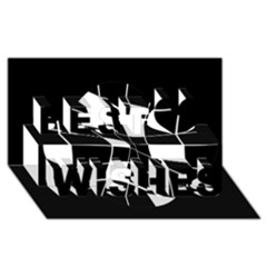 Black And White Abstract Flower Best Wish 3d Greeting Card (8x4)  by Valentinaart
