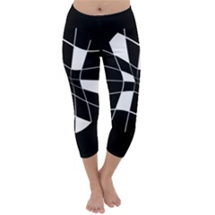 Black and white abstract flower Capri Winter Leggings  by Valentinaart