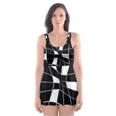 Black And White Abstract Flower Skater Dress Swimsuit by Valentinaart