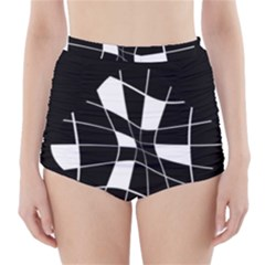 Black And White Abstract Flower High Waisted Bikini Bottoms