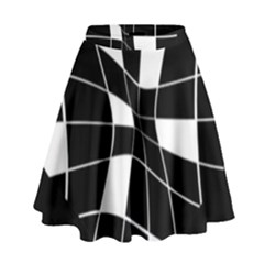 Black And White Abstract Flower High Waist Skirt by Valentinaart
