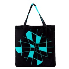 Blue Abstract Flower Grocery Tote Bag by Valentinaart