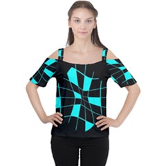 Blue Abstract Flower Women s Cutout Shoulder Tee by Valentinaart
